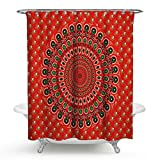 Mandala Shower Curtain, Indian Ethnic Flower Paisley Print Holy Animal Head Hippie, Fabric Bathroom Decoration With Hook, 72 Inches Extra Long, Red