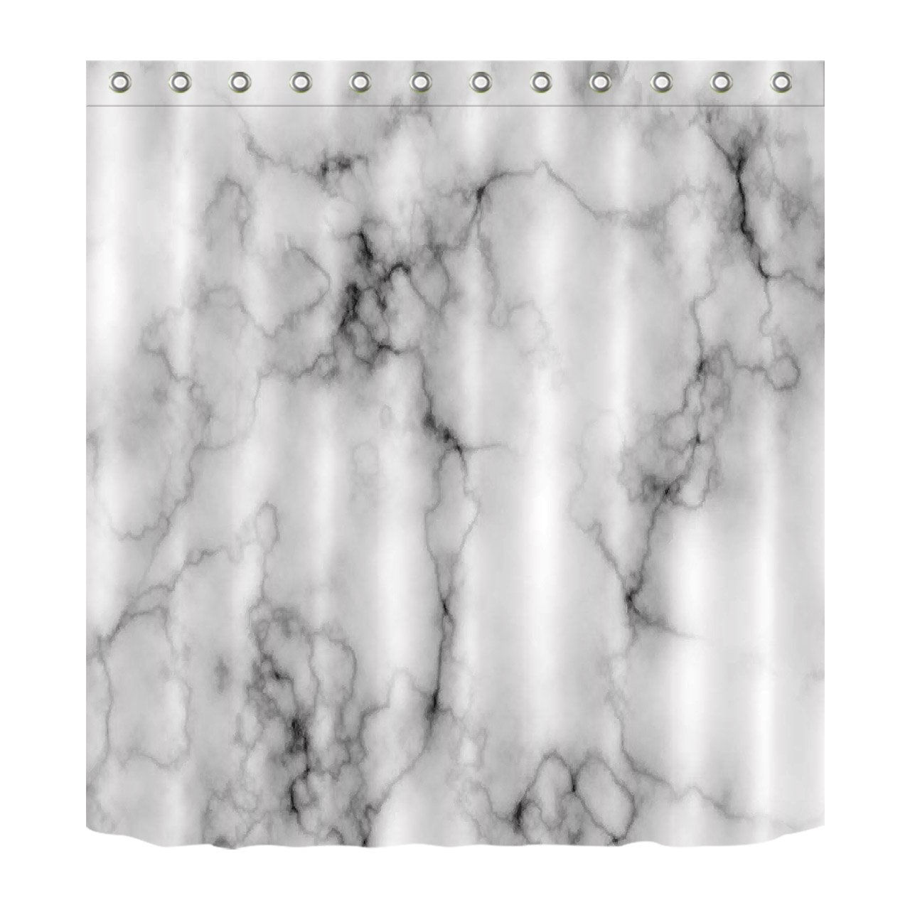 Concise Decoration Marble Texture Domolite Decor Luxury Shower Curtain Polyester Fabric 3D Digital Printing 60x72 Mildew Resistant Black Lines Spread Gray Bathroom Bath Curtain Liner Hooks YLHGY-150-180