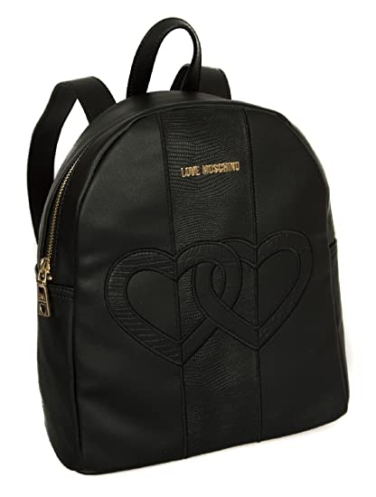 Love Moschino Double Heart Backpack black: Amazon.co.uk