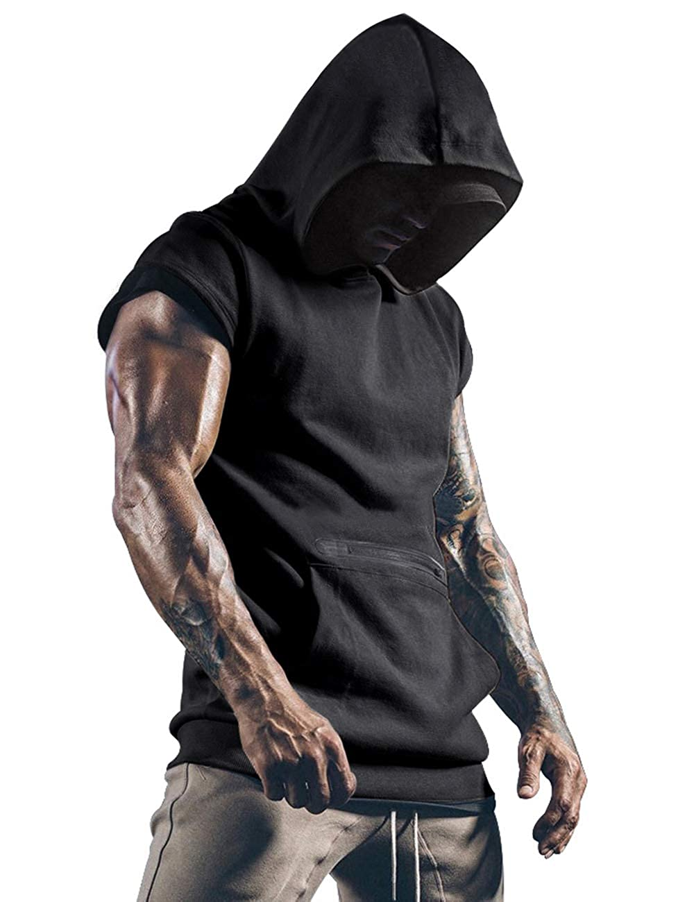 poriff Mens Workout Tank Tops with Hood Sleeveless Gym t-Shirt Muscles Tees Athletic Pockets