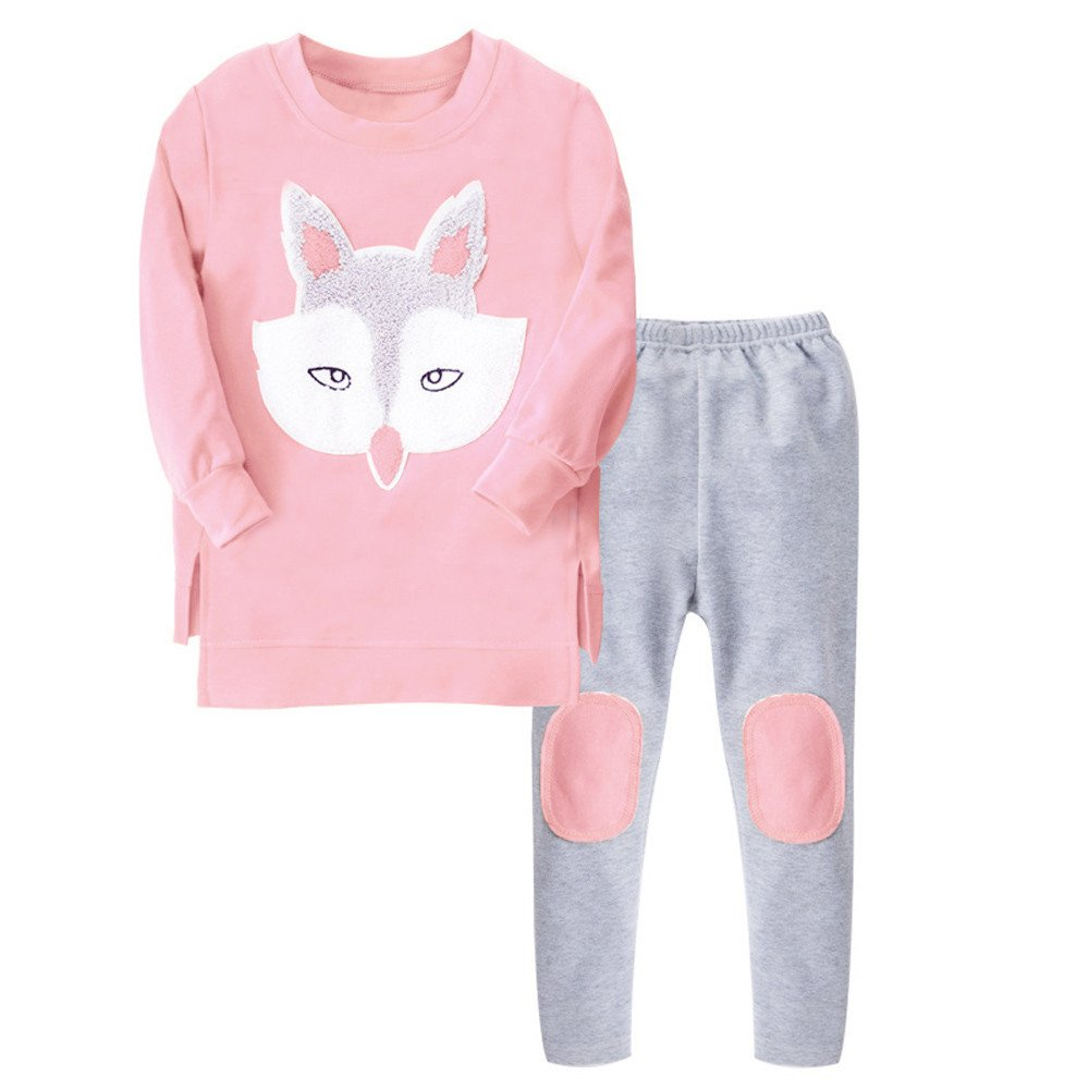 Boys Girls Fall Winter Fox Clothes Outfits 5-10 Years Old Kids Chlid Long-Sleeved Sweatershirt Tops Pants Sets