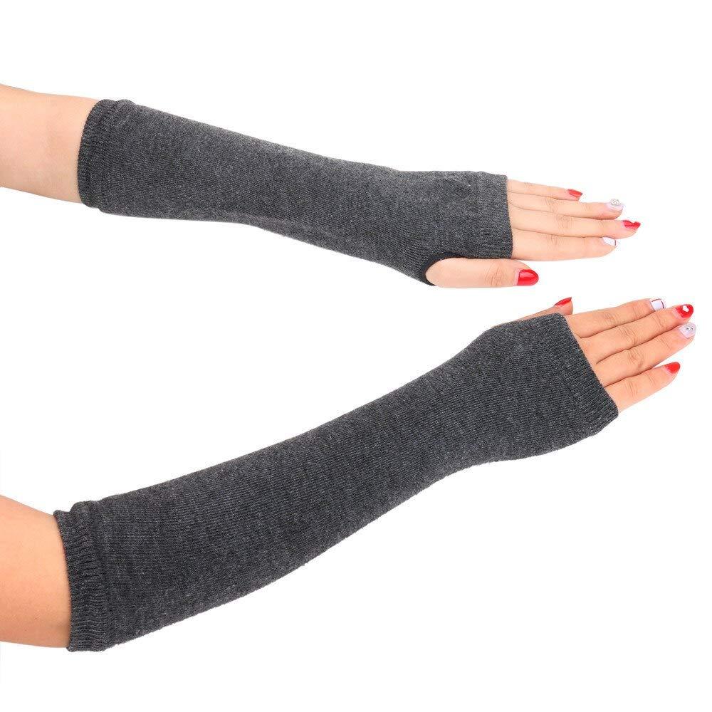 LIAODS Guanti solidi da donna a guanti lunghi senza dita