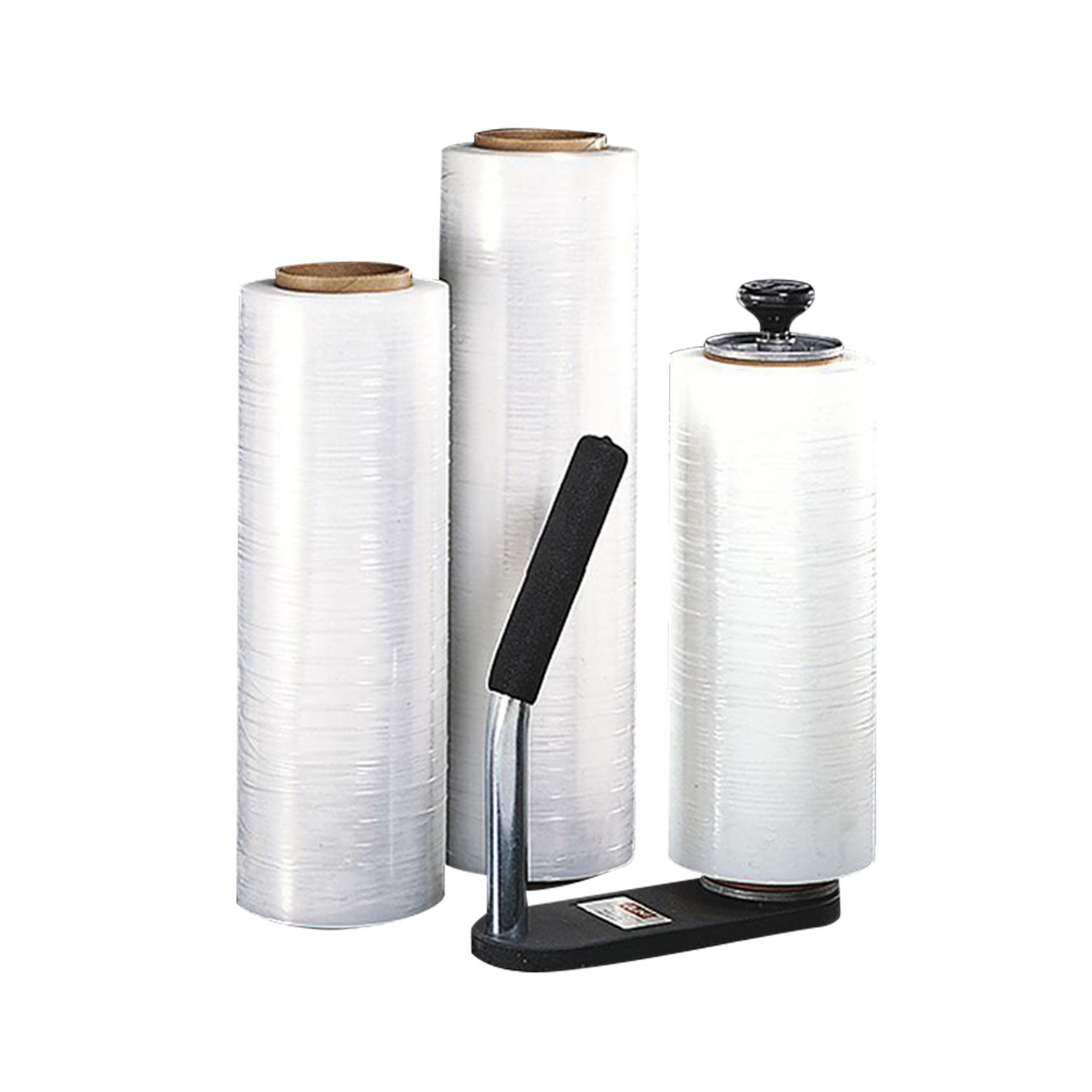Clear Plastic Stretch Film, Industrial Strength Moving & Packing Wrap, 2 Pack 18'' x 1500 Ft Rolls with Best Selling Stretch Film Dispenser with Tension Knob Adjustment for Furniture, Boxes & Pallets