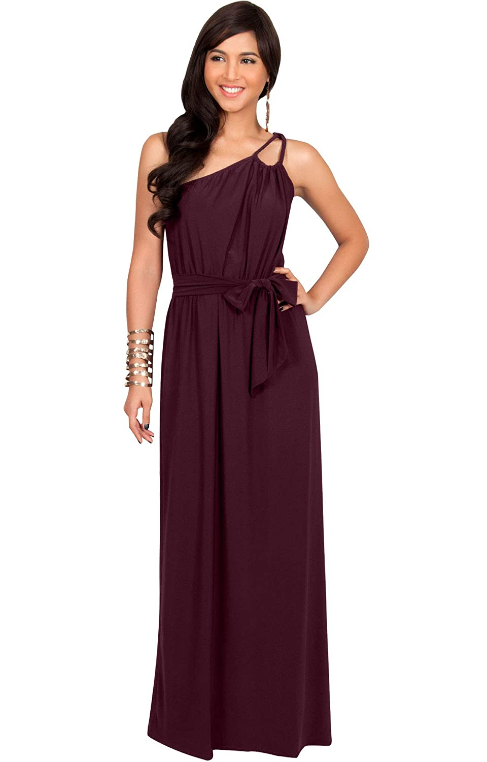 70s Prom, Formal, Evening, Party Dresses KOH KOH Womens Long Sleeveless One Shoulder Evening Summer Bridesmaid Maxi Dress $49.95 AT vintagedancer.com