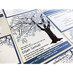 Oak Tree Bar Mitzvah Invitation, Blue and Brown, Bat Mitzvah Invitaiton Set, RSVP