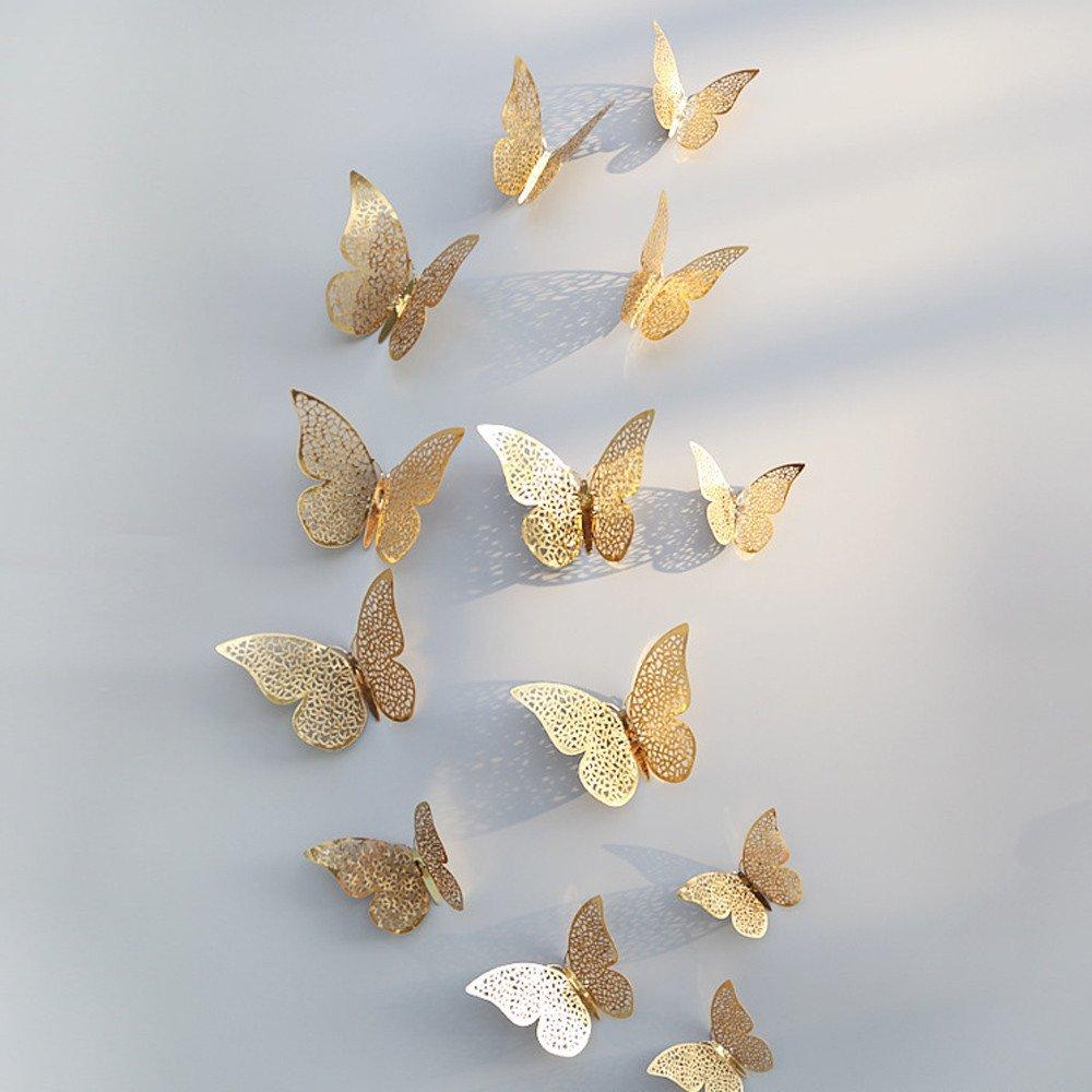 Pet1997 12 Pcs New 3D Hollow Butterfly Wall Stickers, Butterfly Fridge for Home Decoration - Gold & Silver - 3 Size: 12CM (4pcs), 10CM (4pcs), 8CM (4pcs) (C Gold)