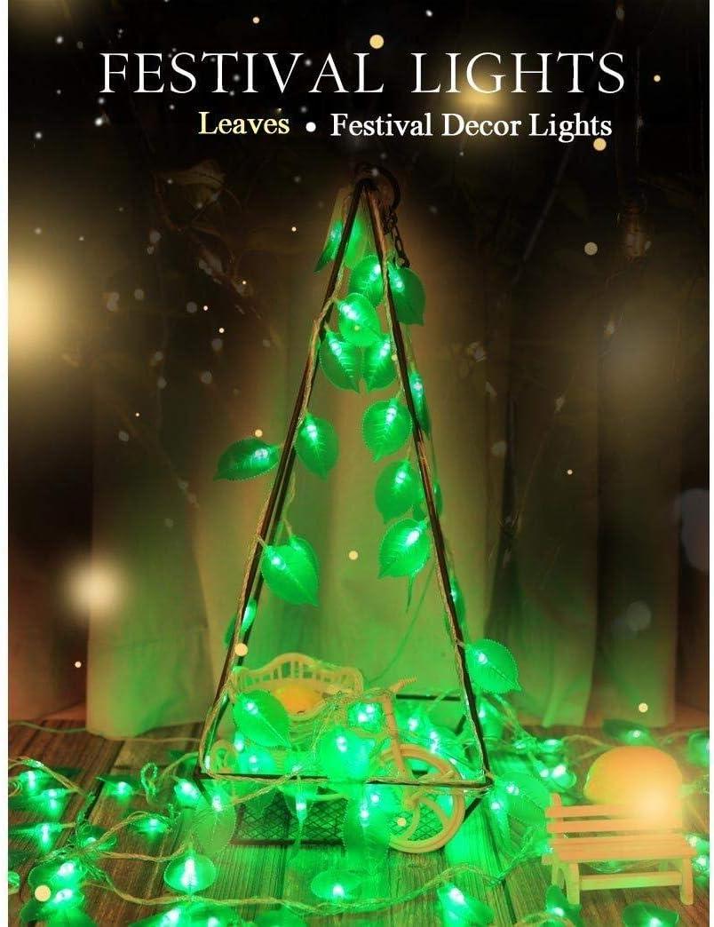 BHJqsy luces decorativas/cadena luces LED 20 LED Hojas Hada decorativa resistente al agua con pilas luces de cadena de la cerca de la pieza central Yard Patio Pergola partido central de la