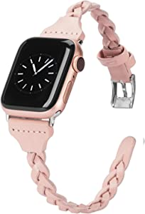 Wearlizer Compatible with Apple Watch Band 38mm iWatch Bands 40mm Plait Style Slim Leather Replacement Wrist Band for iWatch SE Series 6 5 4 3 2 1 - Rose Gold Pink