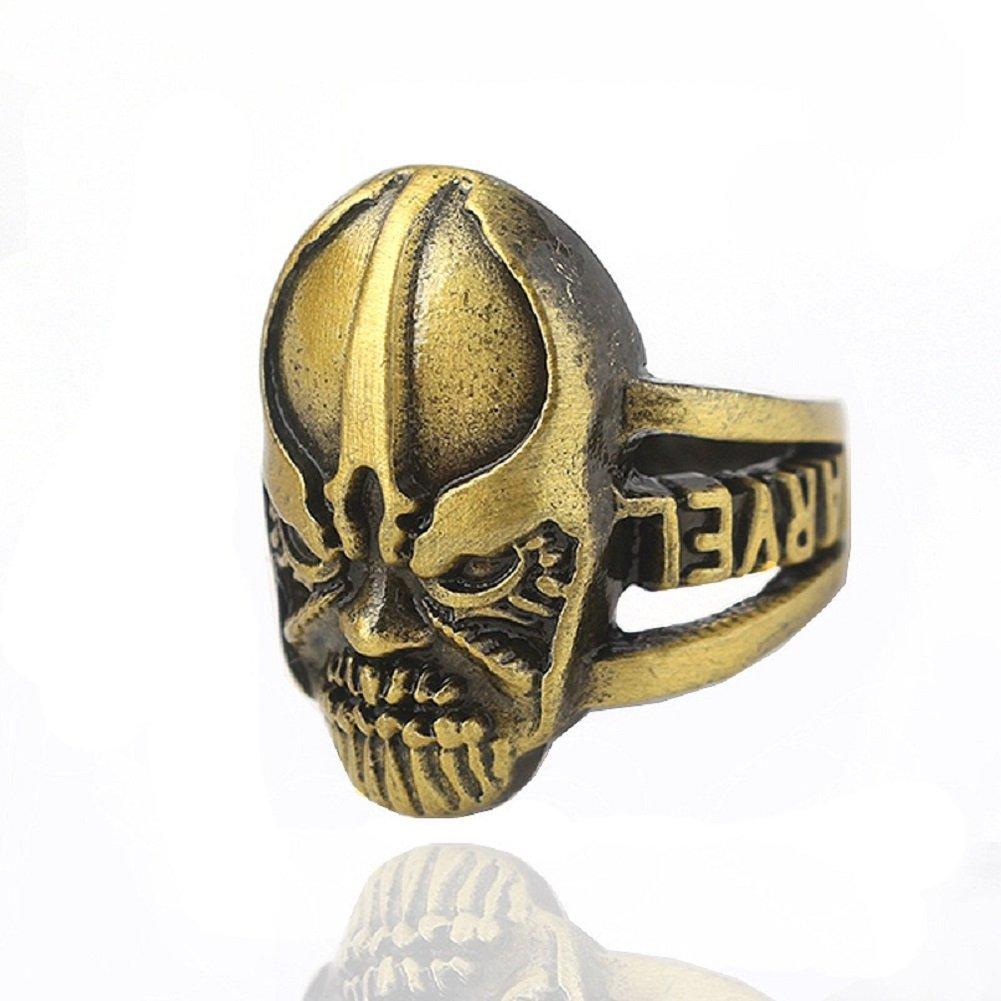 Joyfunny Villain Power Ring Movie Cosplay Golden Ring with Crystals Halloween Costume Prop