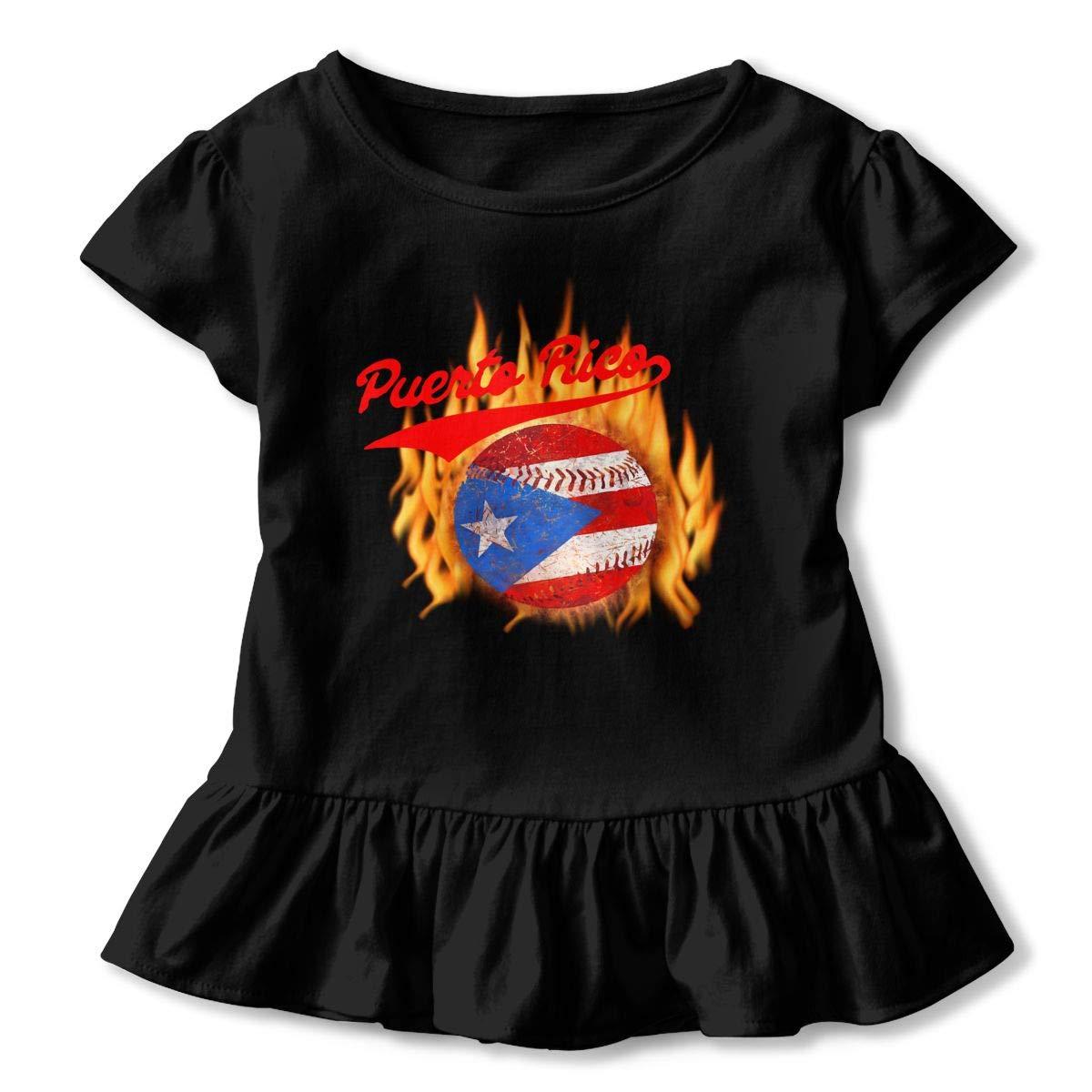 Puerto Rico Baseball Ball Flag Puerto Rican Toddler Baby Girls Short Sleeve Ruffle T-Shirt