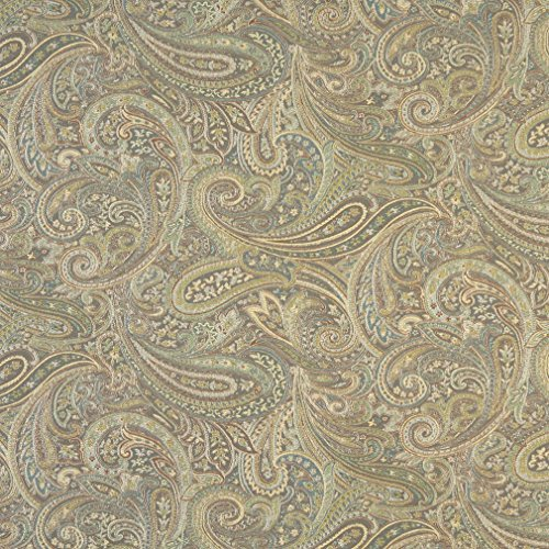 F327 Brown Blue And Green Paisley Contemporary Upholstery Grade Fabric By The ()