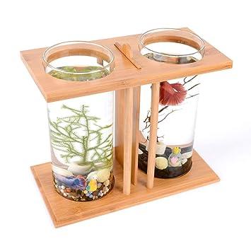Suna Acuario Bambú Madera Pecera Ecológica Creativa De Escritorio Mini Pecera