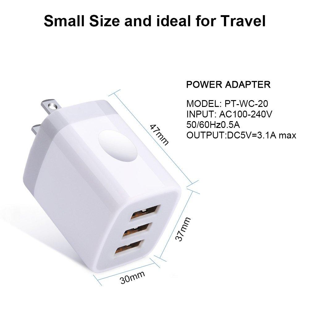 Amazon.com: HUHUTA 3.1A USB cargador de pared cargador de ...