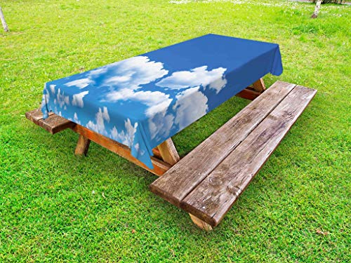 Ambesonne Landscape Outdoor Tablecloth, Floating Clouds in T
