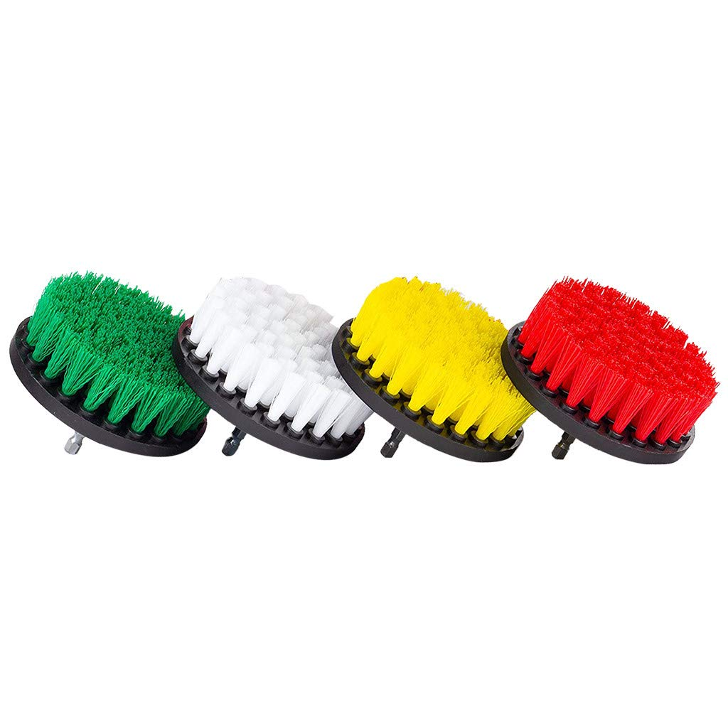 4 Inch Electric Drill Brush Head 4 Color Mixed Set, Drill Brush Attachment Set - Power Scrubber Brush Cleaning Kit