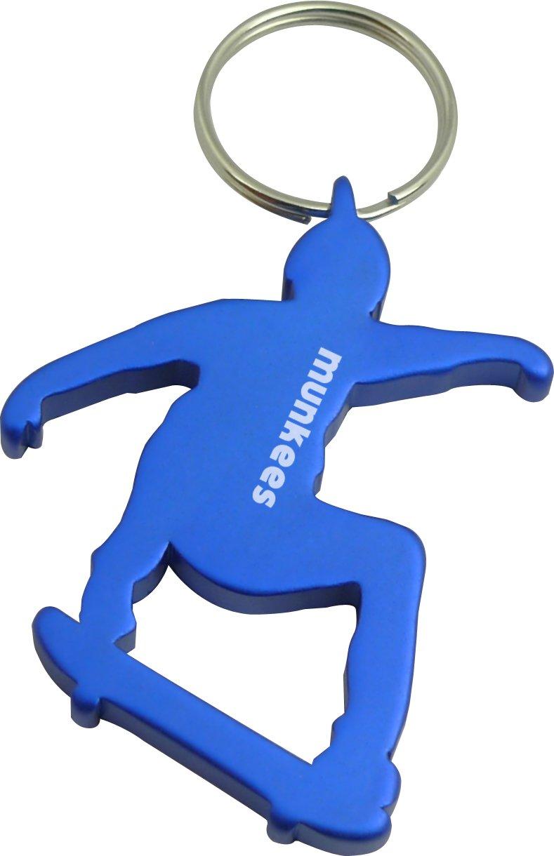 MUNKEES Keychain Skateboarder con apribottiglie in alluminio di alta qualità , portachiavi, 3494, Rot AceCamp
