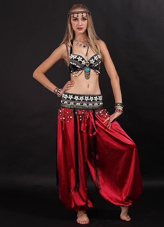 SunWanyi Mujeres Danza del Vientre Trajes Pantalones ...