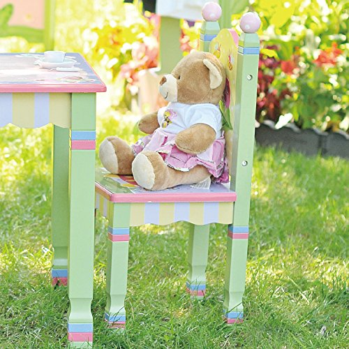 Hand Painted Childrens Table (Fantasy Fields - Magic Garden Thematic Kids Wooden 2 Chairs Set | Imagination Inspiring Hand Crafted & Hand Painted Details | Non-Toxic, Lead Free Water-based Paint)