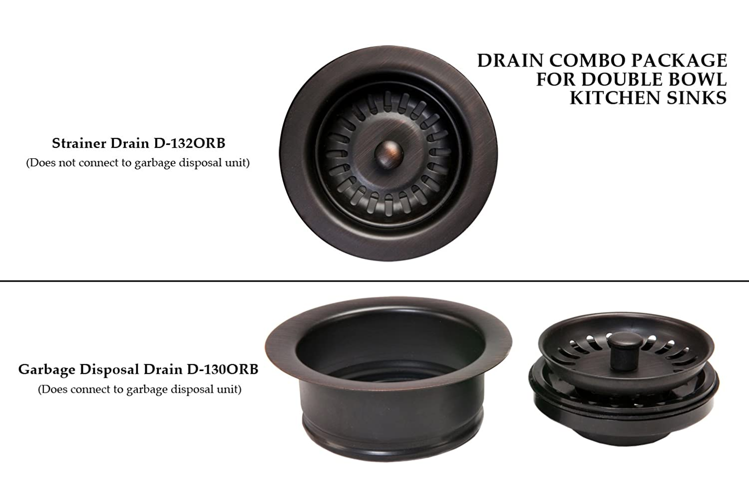 Premier Copper Products Dc 1orb Drain Combination Package For Double Bowl Kitchen Sinks Oil Rubbed Bronze Utility Sinks Amazon Com