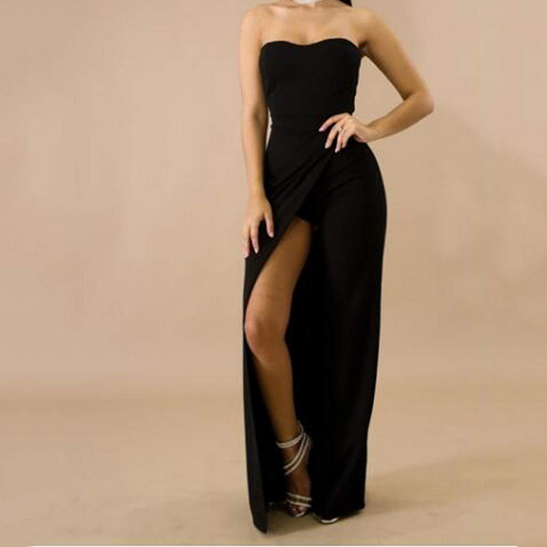 MRxcff Summer Women Sleeveless Asymmetrical Off Shoulder Jumpsuit Slash Neck Wide-Leg Solid Fashion Jumpsuit