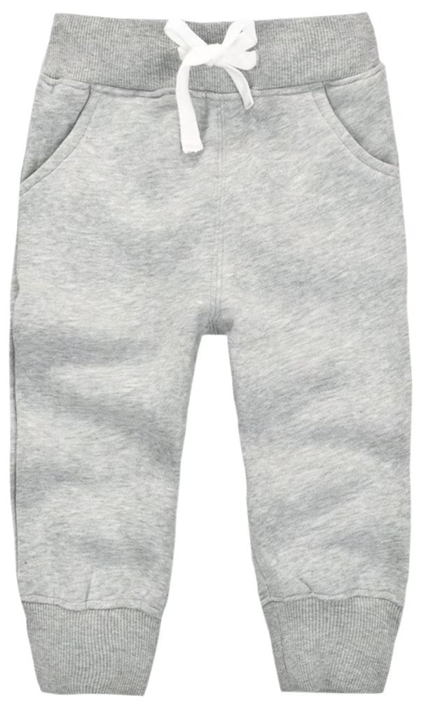Mom's care Unisex Kids Fleece Sports Jogger Pants For Toddler Baby, Little Girls, Little Boys Grey, 12-16 Months(1T) = Tag 12M