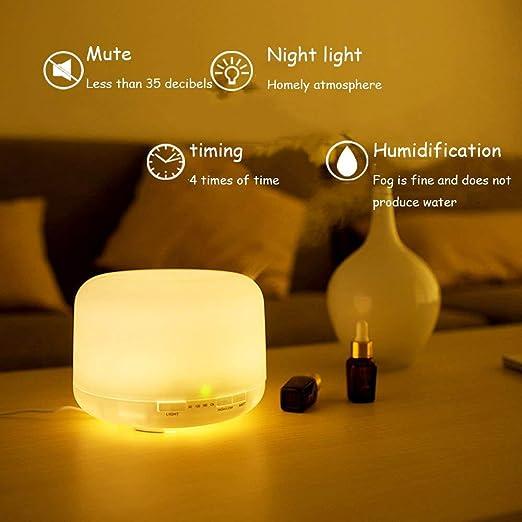 ZJWZ Humidificador 500ML Difusor de Aceite Esencial, luz LED ...
