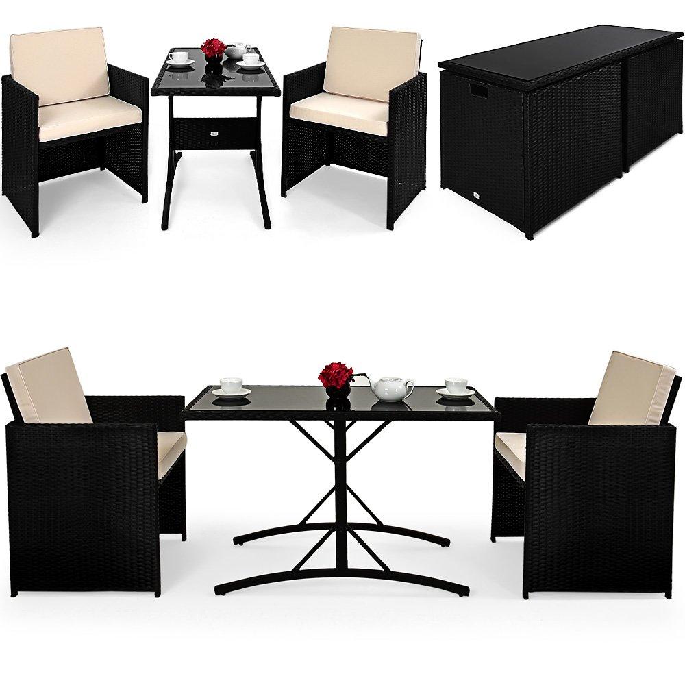 Deuba® Poly Rattan Sitzgruppe 2+1   Cube Design   7cm Dicke Auflagen in Creme   klappbare Rückenlehne   platzsparend [ Modellauswahl 2+1   4+1   8+1   10+1 ] - Balkon Set Balkonmöbel Set Gartenmöbel