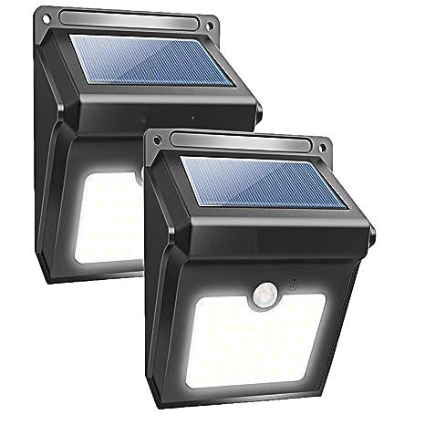 Powpro - 8 luces LED solares para exteriores y sensor de movimiento, impermeables, 2