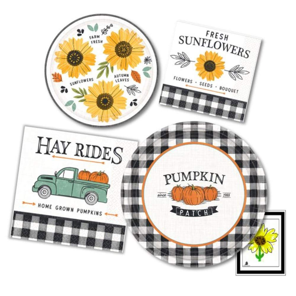Sunflower Yellow, Black and White Gingham Party Supply Pack for 16- Dinner and Dessert Appetizer Paper Plates with Napkins by Amscan