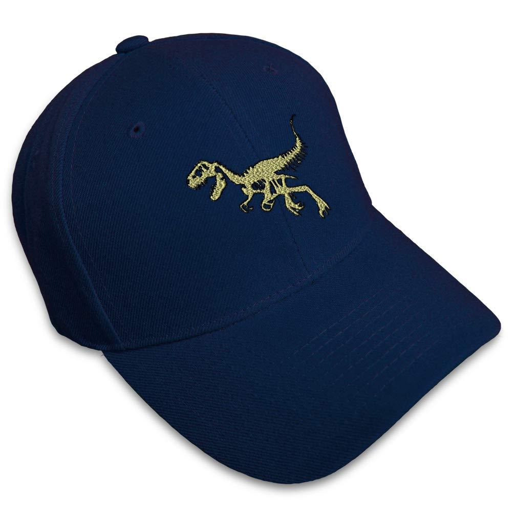 Custom Baseball Cap Velociraptor Skeleton Style D Embroidery Strap Closure