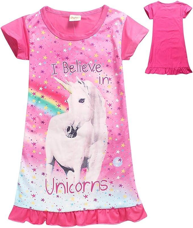 Ragazze Unicorn Stampato Arcobaleno Principessa Vestito Casuale della Camicia da Notte Camicia da Notte per Il Bambino Pigiama