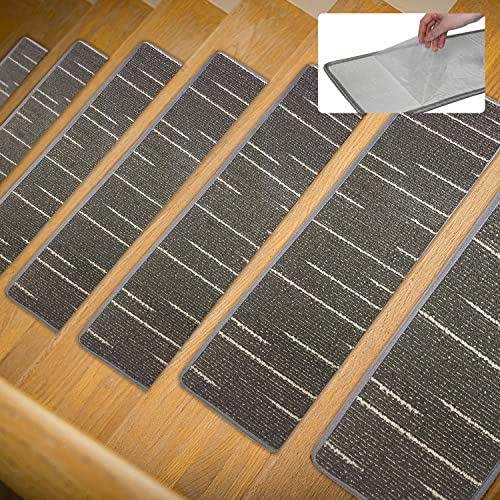 Anti-Skid Carpet Stair Treads,No Glue But Self Adhesive,Be Used Repeatedly,Soft and Wear-Resisting,Set of 13 Non-Slip Stair Treads Rugs Mats Bubber Backing(8 inch x 30 inch),Dark Gray Stripes