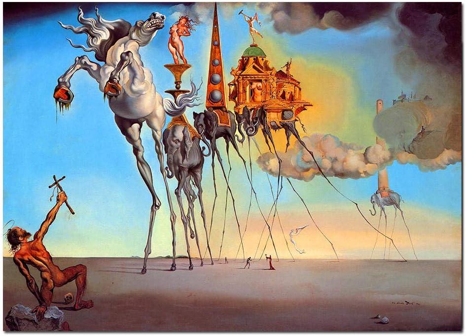 XuFan Salvador Dali Lienzo Pintura Arte Abstracto Caballo, Elefante Imágenes de Arte de Pared clásico para Sala de Estar Decoración para el hogar Imprimir-Sin Marco 40x60cm