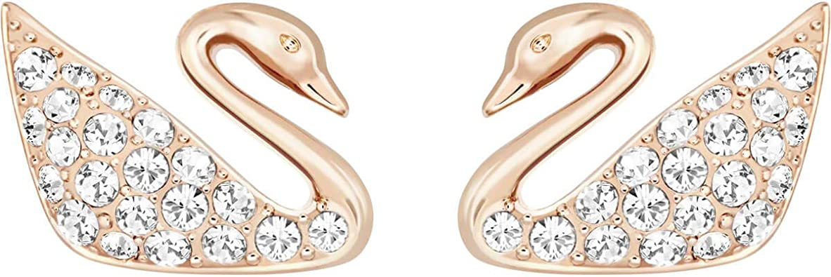Amazon Com Swarovski Swan Mini Pierced Earrings Rose Gold Plated Jewelry