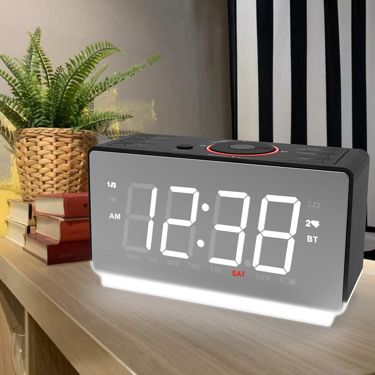 Emerson White Jumbo Mirror Display Dual Alarm Clock Radio with USB Charging, Shuttle Wheel, LED Decor, Earphone Jack and Bluetooth Speaker, ER100116