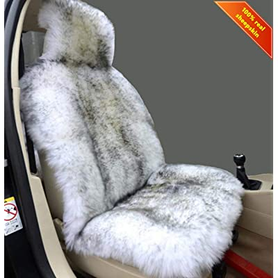 Sisha Winter Warm Authentic Australia Sheepskin Car Seat Cover Luxury Long Wool Front Seat Cover Fits Most Car, Truck, SUV, or Van (Grey Tips): Automotive