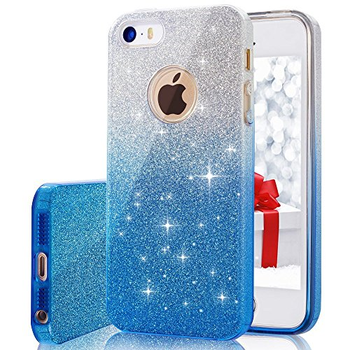 iPhone 5, 5S, SE Case, VPR Bling Luxury Glitter Pretty Cute Premium 3 Layer Ultra Thin Sparkle Anti-Slick / Soft Slim TPU Unique/ Protective Case for iPhone 5 5S SE (Makeup In The 80s)