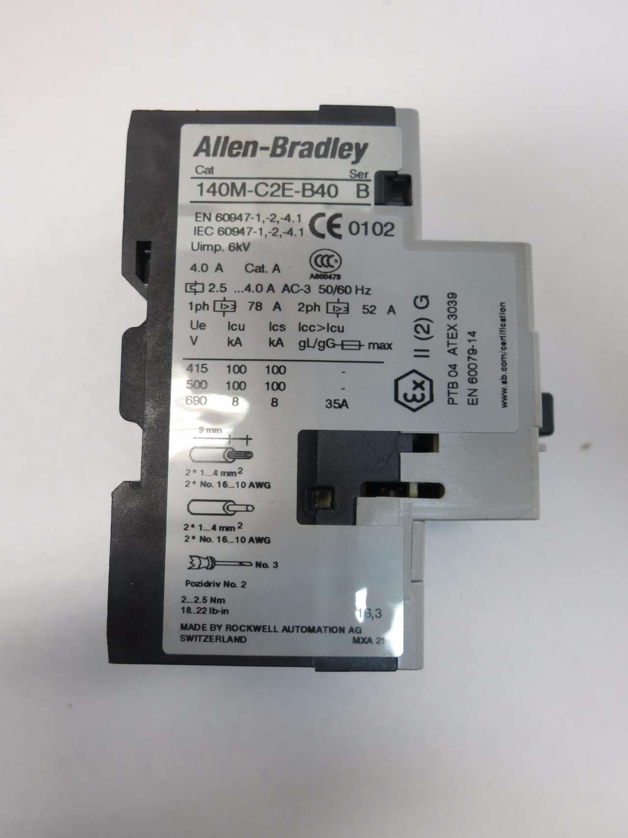 NEW ALLEN BRADLEY 140M-C2E-B40 SER B 3HP 2.5-4A AMP MANUAL MOTOR STARTER D512285 by Allen-Bradley (Image #6)