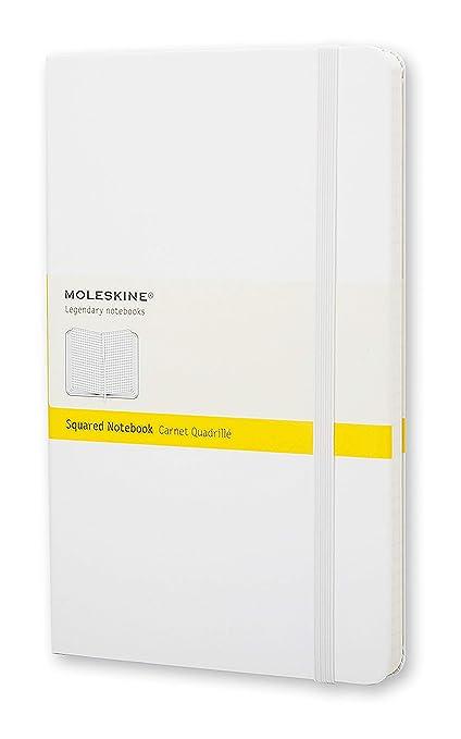 Moleskine - Cuaderno clásico con páginas cuadriculada, tapa dura y goma elástica, tamaño grande 13 x 21 cm, 240 páginas, color blanco