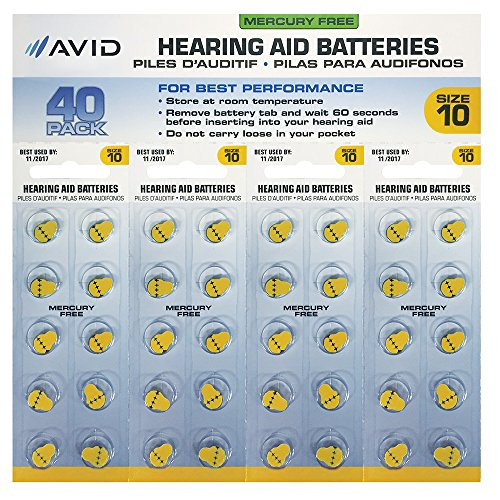 Avid Hearing Aid #10 Battery (40 Count) by Avid