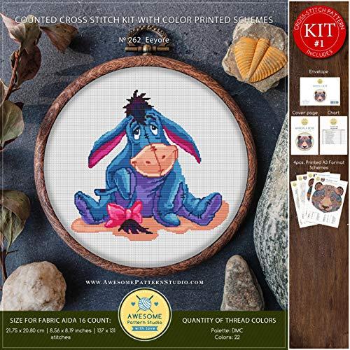 (Eeyore #K262 Embroidery Kit | Stitching | Disney Embroidery Kits | Needlepoint | Cross Pattern | Stitch Patterns | Cross Stitch for Beginners)