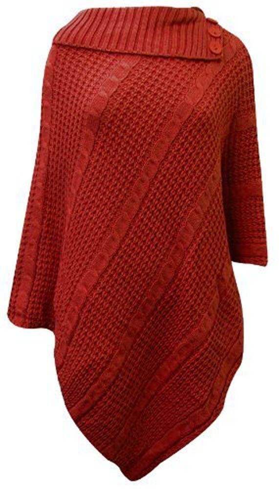 Women's Cowl Neck Knitted 3 Button Plus Size Poncho Shawl