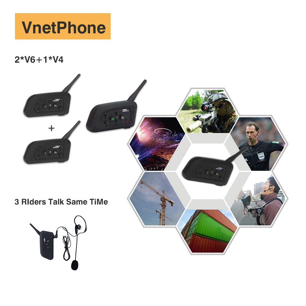 Vnetphone 1 Set V4 + 2 Sets V6 1200M 3 Referees Talk Same time for Football Referee Coach Headset Judger Arbitration Walkie Talkie Earphone V4+2*V6