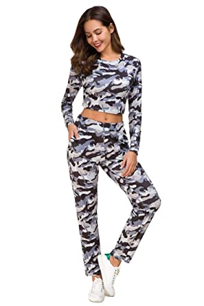 New Womens Ladies Army Camouflage Printed Tracksuit Ladies Camo Loungewear Suit