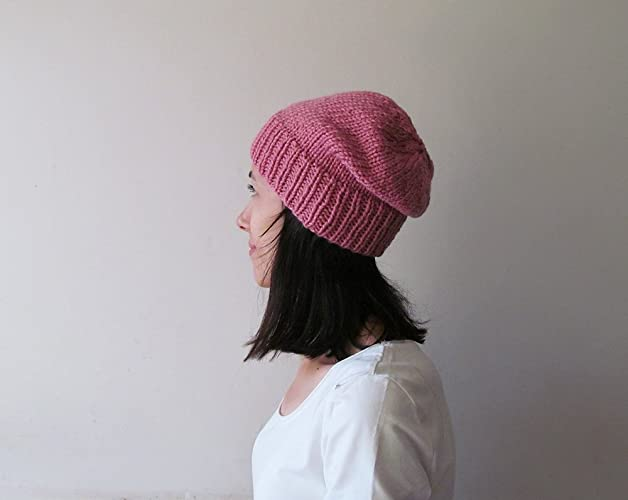c483f148 Rose Pink Slouchy Beanie, Pink Knit Chunky Slouch Hat, Women Knit ...