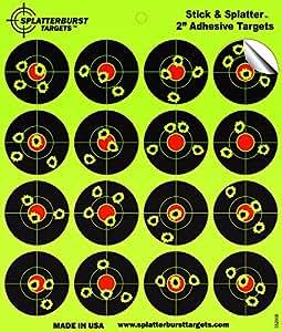 """Splatterburst Targets - 2 inch Adhesive """"Stick & Splatter"""" Reactive Shooting Targets - Gun - Rifle - Pistol - AirSoft - BB Gun - Pellet Gun - Air Rifle (10 pack)"""