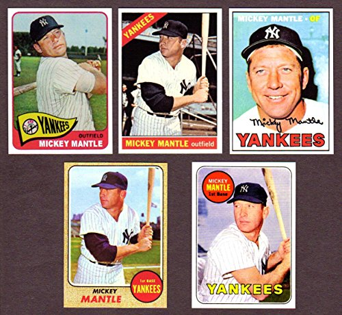 Mickey Mantle (5) Card Baseball Reprint Lot #6 (with Original Backs) Includes 1965, 1966, 1967, 1968, 1969 (New York)