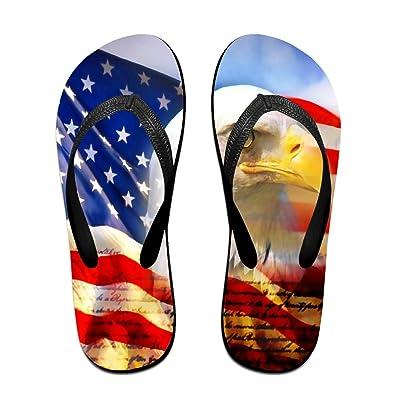 Unisex Non-slip Flip Flops Eagle In American Banner Cool Beach Slippers Sandal