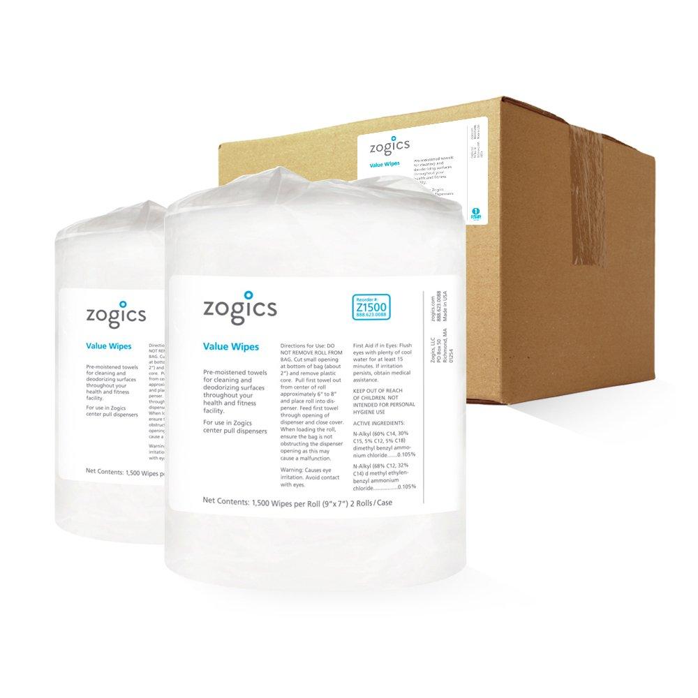 Zogics バリューワイプ 経済的なジム用クリーニングワイプ (1,500ワイプ/ロール 2ロール/ケース) B0784Y6CDY