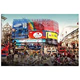 Modern Home Ultra High Resolution Tempered Glass Wall Art - 3D London Piccadilly CIrcus